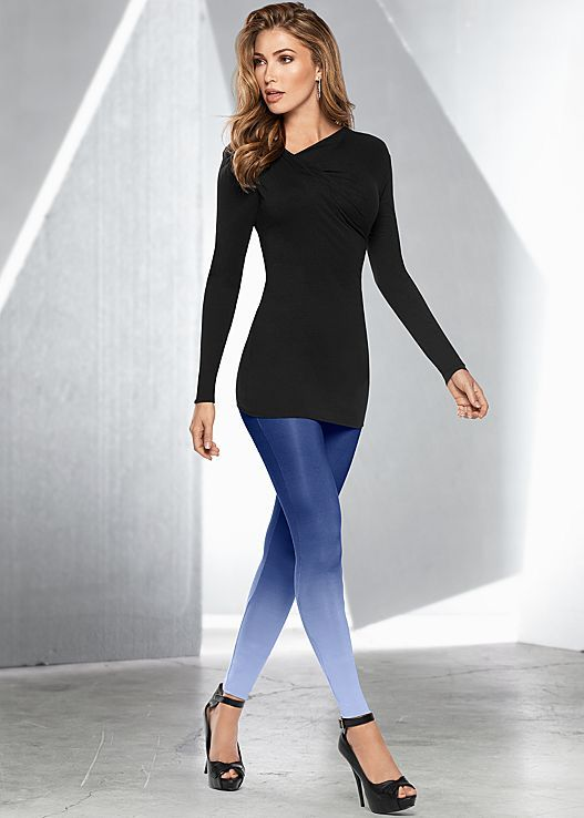 Dress them up or down, these leggings are the perfect versatile piece! Venus ombre leggings with Venus ruched top and Venus peep toe ankle strap heel.