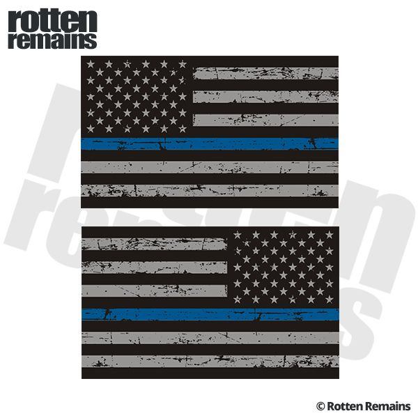 "Tattered Thin Blue Line American Flag Decal 5""x3"" SET Police Sticker"