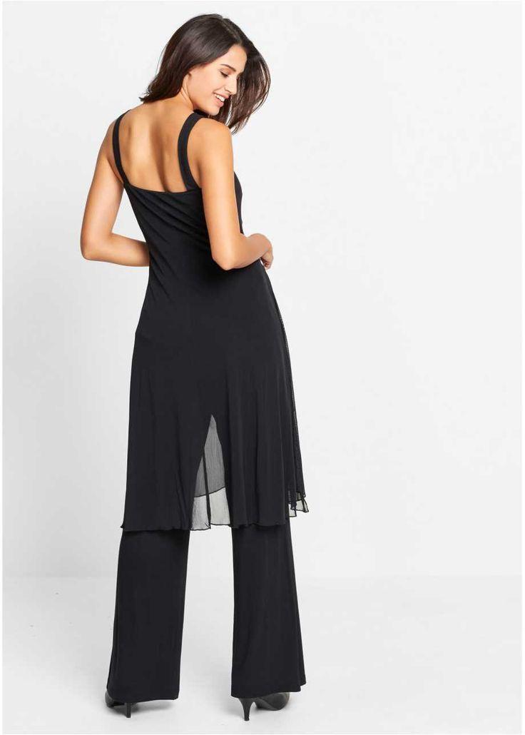 Ensemble top et pantalon de soirée, bpc bonprix collection, noir