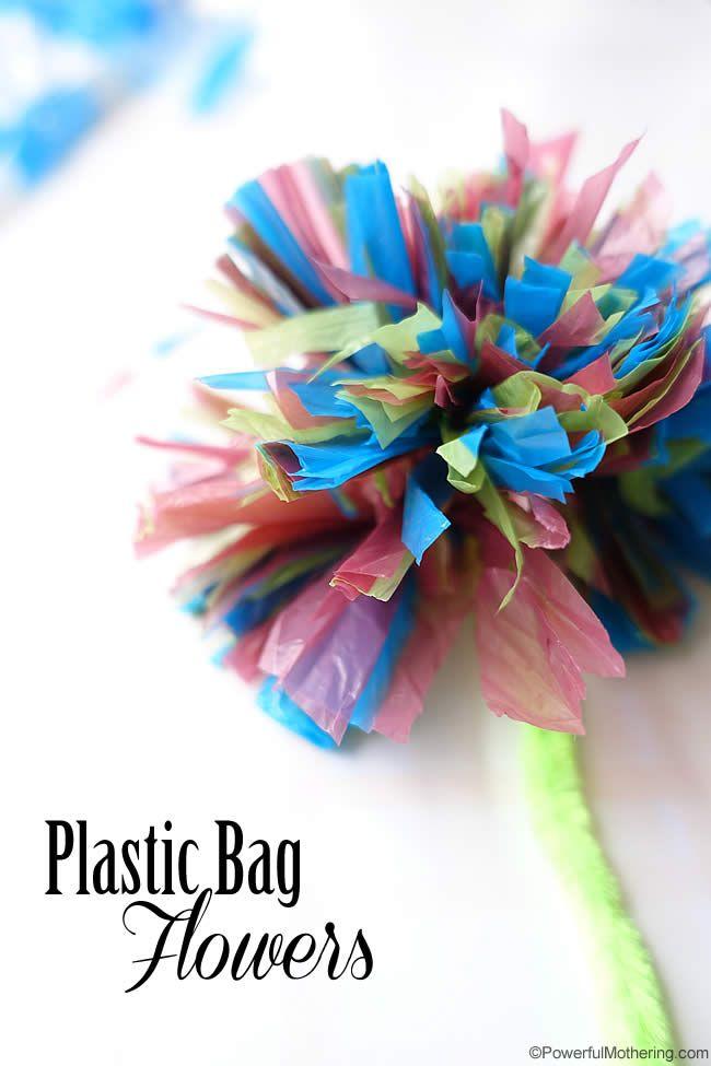Plastic bag flowers. Gloucestershire Resource Centre http://www.grcltd.org/scrapstore/