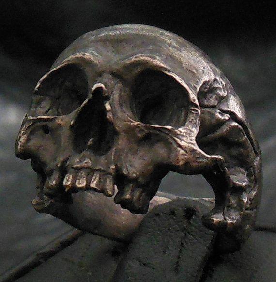 Skull ring – Into The Fire Jewelry – Standard decayed half jaw silver mens skull biker masonic rock n roll handmade jewelry .925