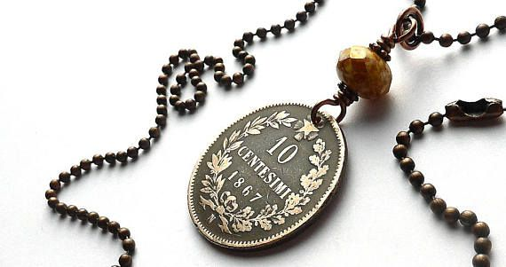 Antique Italian coin necklace Antique necklace Boho jewelry