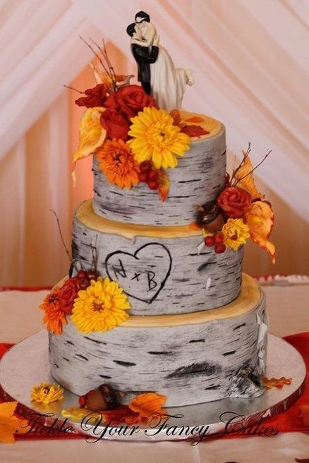 Birch Tree Wedding Cake - but with an owl couple topper and no flowers