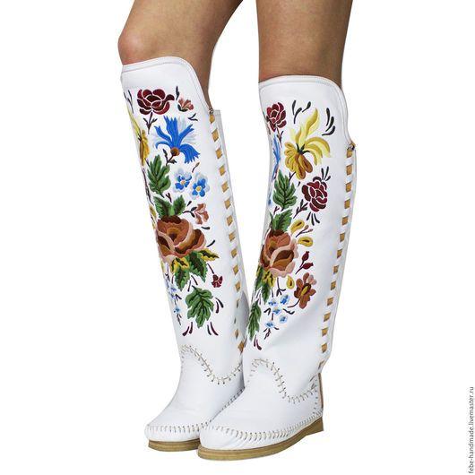 Обувь ручной работы. Ярмарка Мастеров - ручная работа. Купить Зимние высокие сапоги LORENZI белые /39 в наличие.. Handmade.