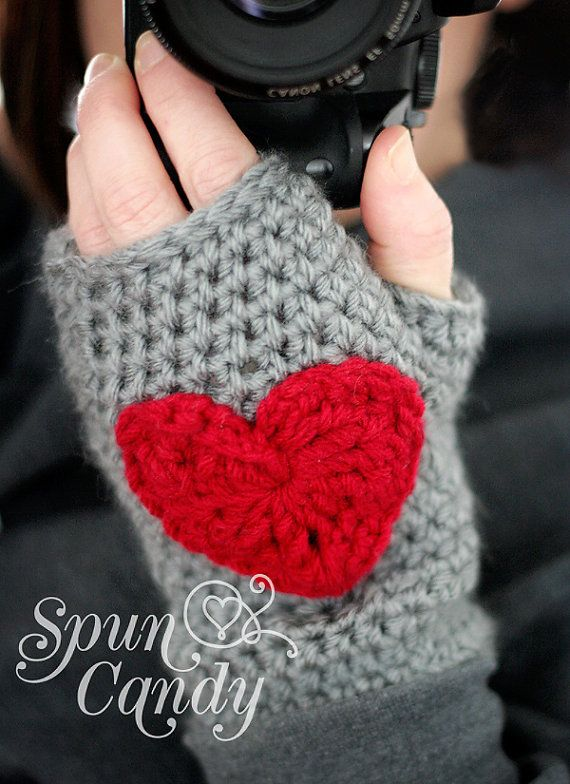 Crochet Heart Fingerless Gloves