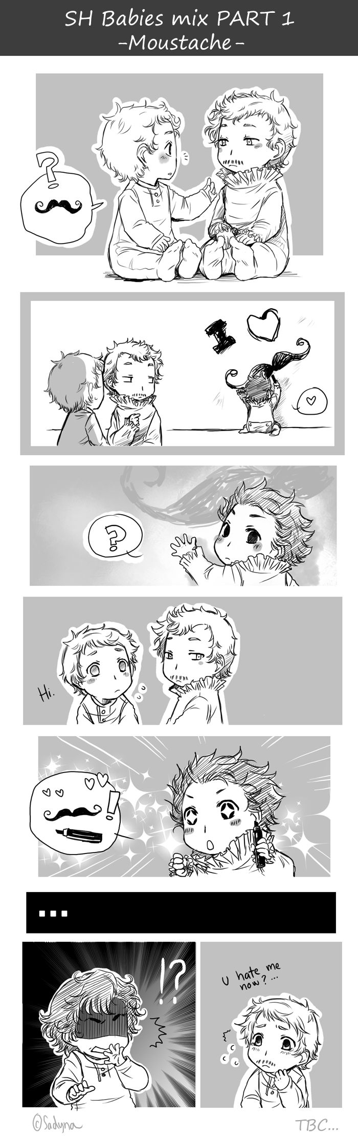 "Sherlock babies comic Part 1 ""Moustache"" // I don't really know what's going on here but they're too adorable to not warrant a repin :3"