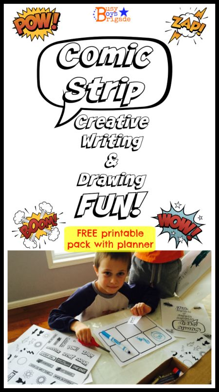 Using Comic Strips to Make Creative Writing Fun--FREE printable comic strip layout plus symbols and expressions.  Great way to help kids have fun with their writing and drawing!