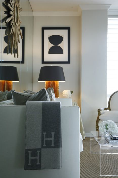 Classy, contemporary living room by Ashley Goforth. I'll take the HH throw please :)