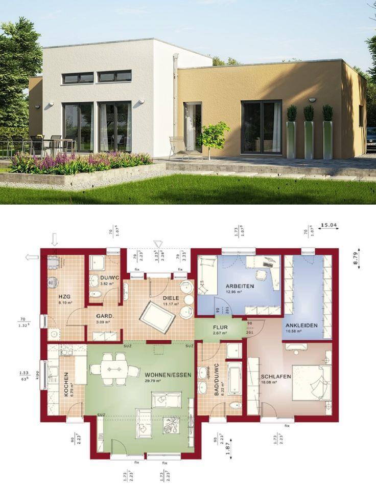 Bungalow Haus mit Flachdach Architektur im Bauhausstil