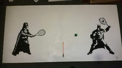 signed Original batman V darth vader tennis street graffiti​ pop art Sheen swap?