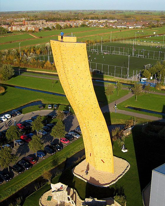 121 foot climbing wall. Largest in the world. Excalibur rock climbing wall in Netherlands