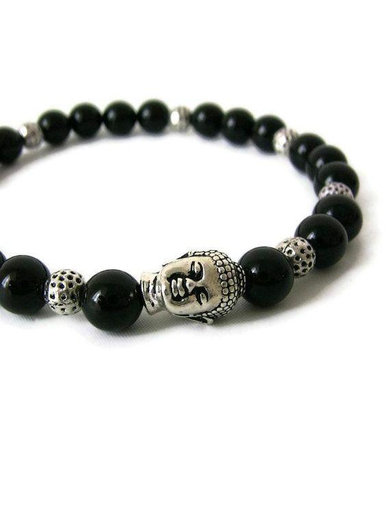 Buddha Bracelet Men's Jewlery Bracelet Silver and Black Onyx on Etsy, $38.00