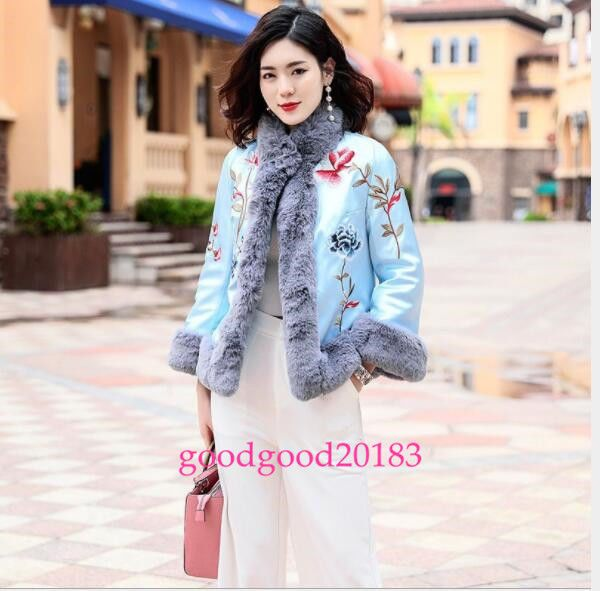01c89fee104 Womens Rabbit Fur Traditional Embroidery Chinese Winter Warm Thicken Jacket  New  fashion  women