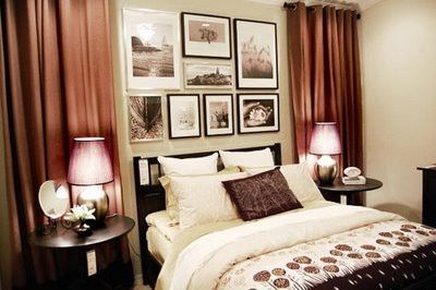 Bedroom wall decor.: Wall Decor, Photos Galleries, Pictures Layout, Galleries Wall, Hanging Curtains, Bedrooms Photos Wall, Bedrooms Ideas, Photos Arrangements, Bedrooms Wall