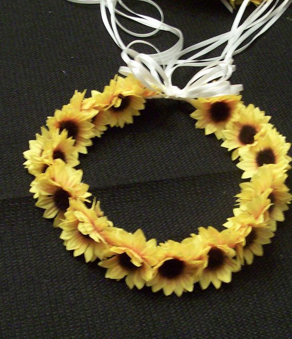 Wedding Flower Girl Mini Sunflower or White Daisy Head Wreath --Adult and Child Sizes-Custom Color Available on Etsy, $15.00