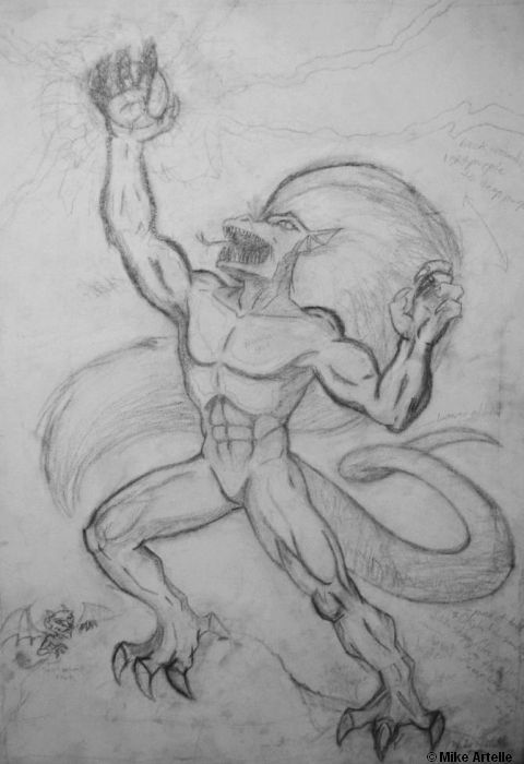 The Demon of Chaos, rough drawing, late 1990's. By Mikey Artelle
