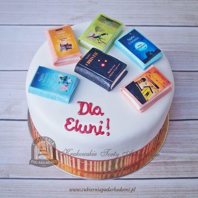 78BA. Tort z książkami Agaty Christie. Birthday cake with Agatha Christie miniature books .