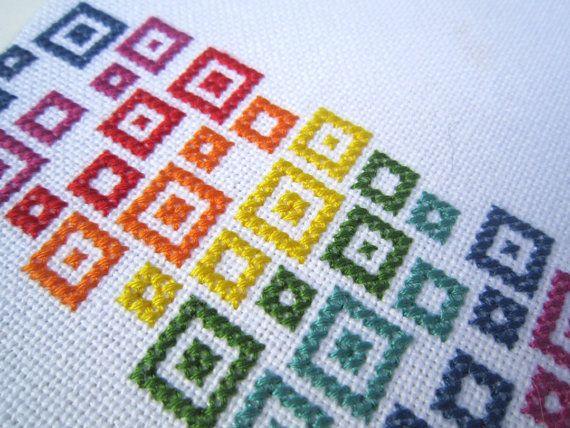Rainbow confetti modern cross stitch by wallwork on Etsy