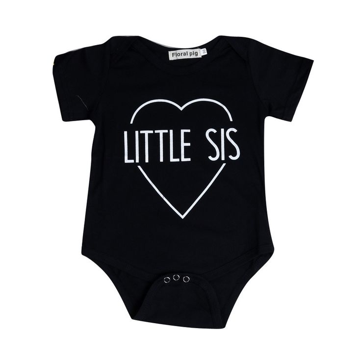 Little Sis Bodysuit. Black onesie with envelope neck and snaps between the legs for easy nappy changes is great for when little sister comes along and you just want to let everyone know. Perfect for showing off little miss in any occasion. http://www.mylittlefunkster.com/little-sis-bodysuit