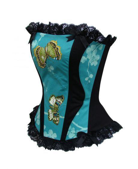 """Corset créateur coton imprimé papillons,dentelle,taille 36,modèle """"Butterfly"""" ! - Etrange Orchidée - hubWin Shopping votre galerie e-marchan..."""