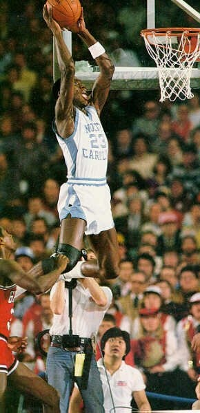 MJ as Tar Heel... telling a camera man he's too close :)