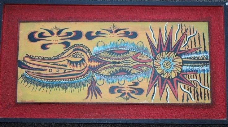 Framed Vintage Papua New Guinean Tribal Art Stylized Crocodile, Starfish & Sun