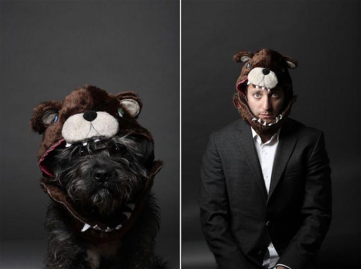 Divertida sesión de fotos de un fotógrafo y su perro