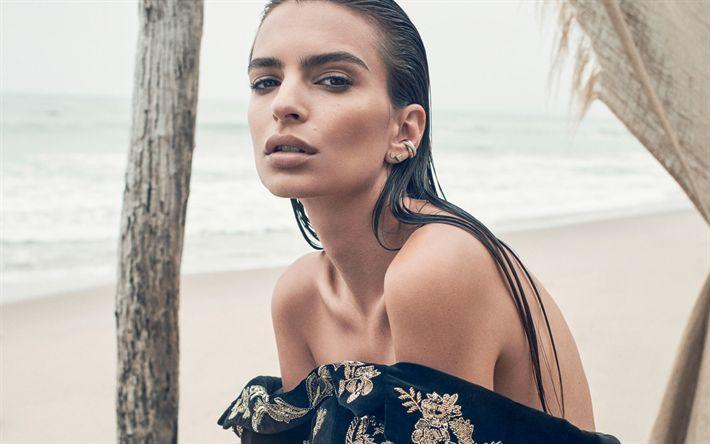 Descargar fondos de pantalla Emily Ratajkowski, modelo americano, retrato, morena, hermosa mujer, actriz estadounidense