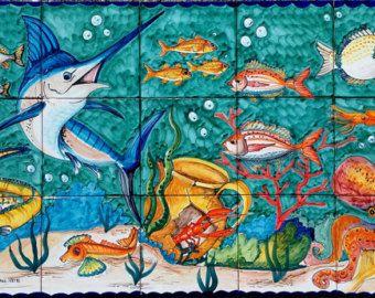 Hand Painted tegel muurschildering  oranje koraal onder de