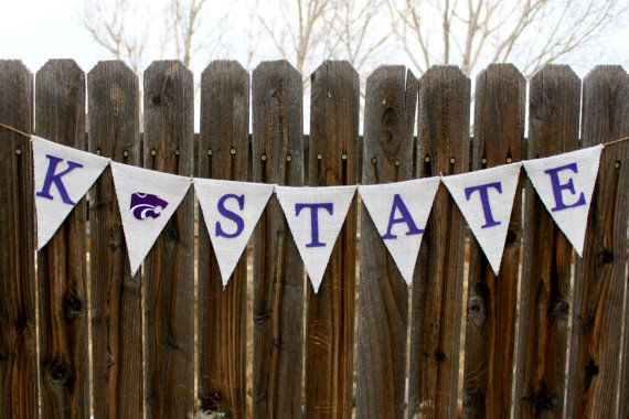 Kansas State University Wildcats KState Burlap by FancyFlamingo, $31.00