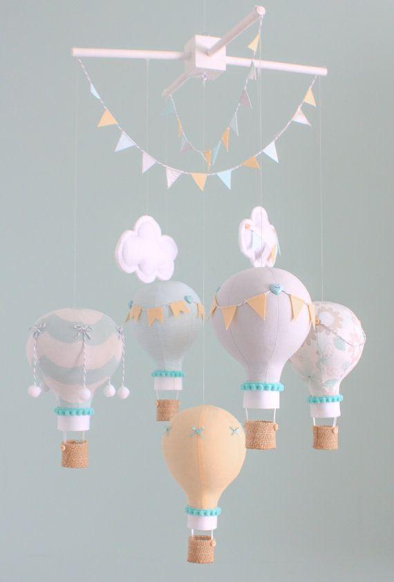 Custom Baby Mobile, Hot Air Balloon Mobile, Nursery Decor, Unisex Nursery, Custom Baby Mobile