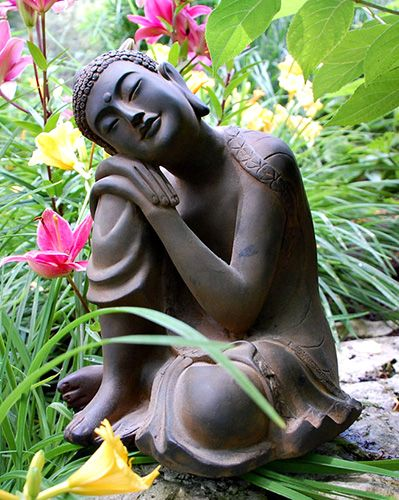 "Small Resting Garden Buddha Statue - Buddha Garden Statues garden statues 12"" tall x 8.75"" wide x 10.5"" deep"