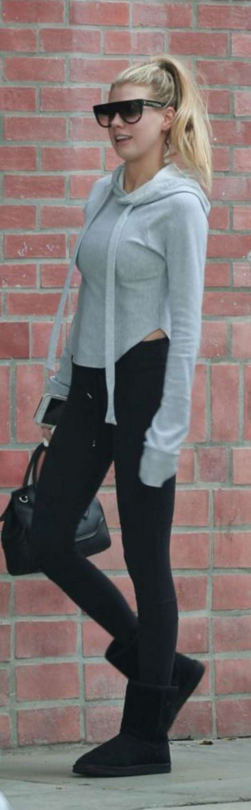 Who made Charlotte McKinney's black handbag, ankle boots, and gray hooded sweatshirt?