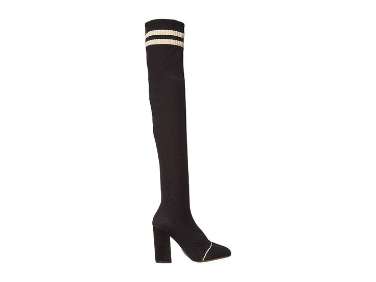Tabitha Simmons Irina Stripe Women's Boots Black Knit/Black Kid Suede