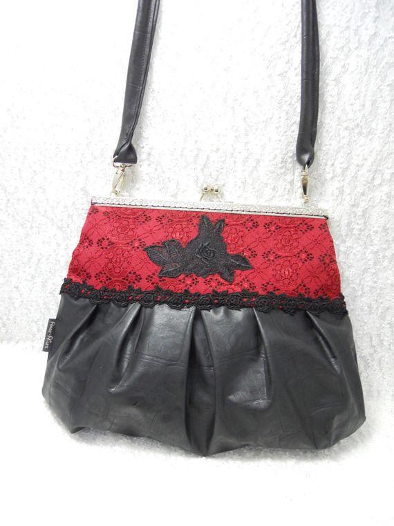 Sac a main Glamour-Vintage simili cuir noir dentelle rouge