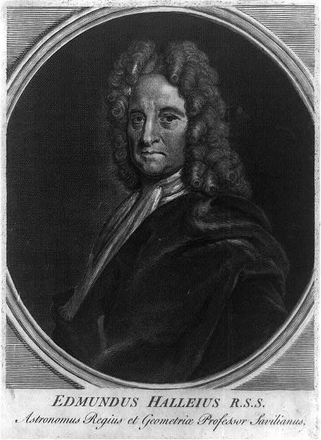 [Edmond Halley, half-length portrait, in oval, facing left]