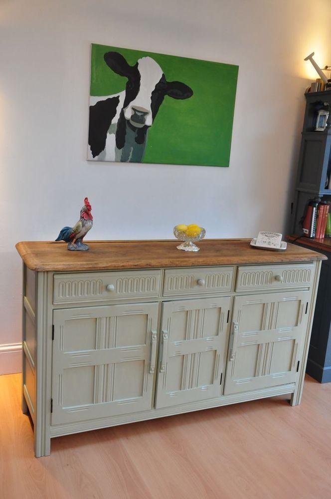 Shabby Chic Painted ERCOL Oak SideboardCupboard Cabinet DresserFarrow Ball