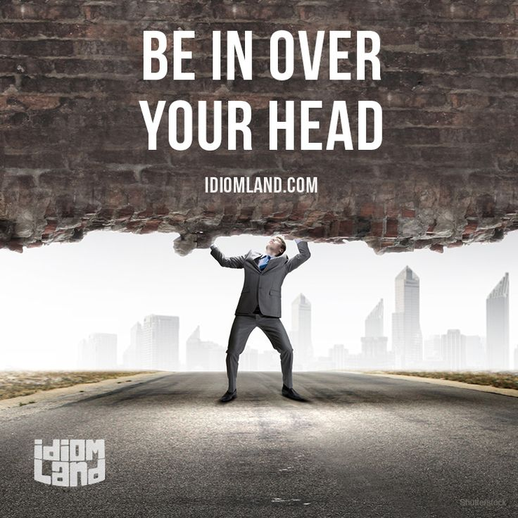 Be in over your head. Meaning: To be involved in a situation that is too difficult to deal with.
