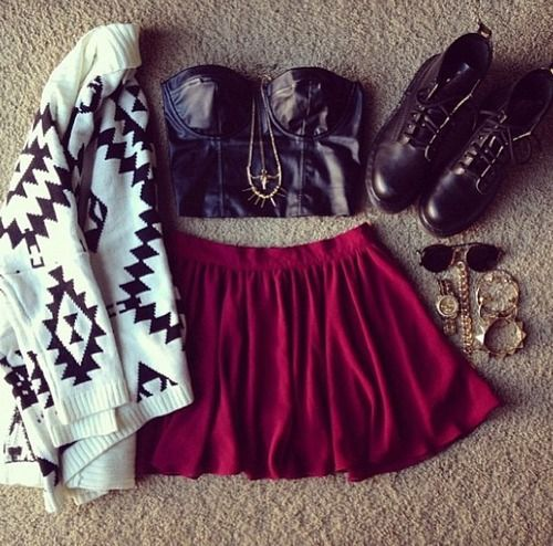 I have that same tribal cardigan. Love this cute look with the skater skirt and the boots . teenager outfits