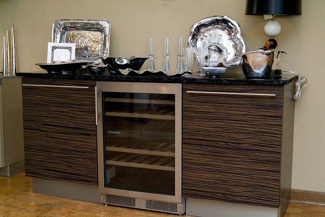 Bazzeo wine bar with Liebherr wine cooler -http://eastcoastappliance.com/by-brand/lbr/Liebherr.html