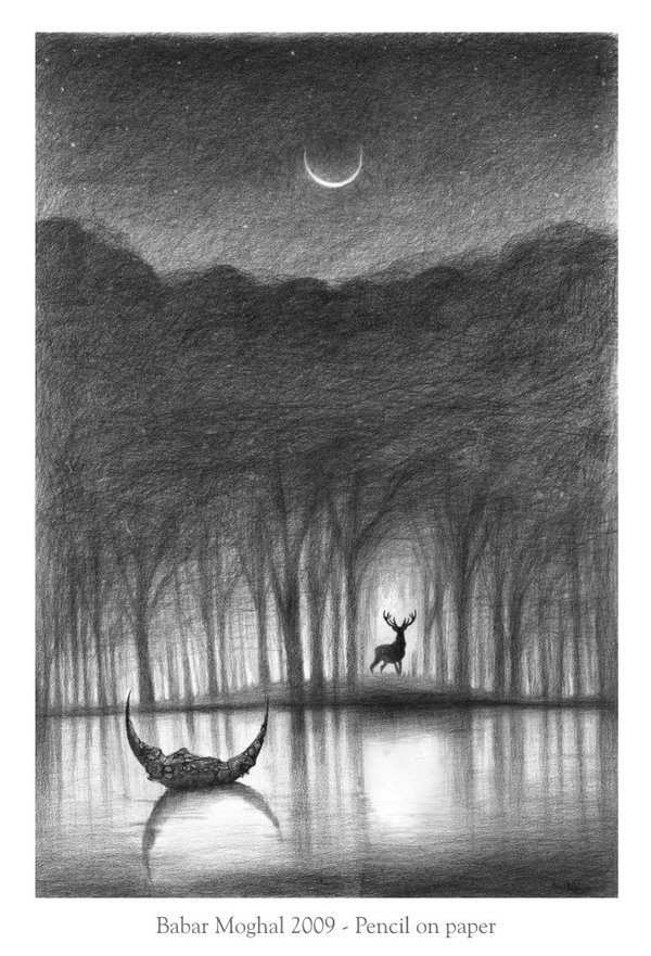 Crescent Moon- pencil drawing by Babar Moghal | I love you ...
