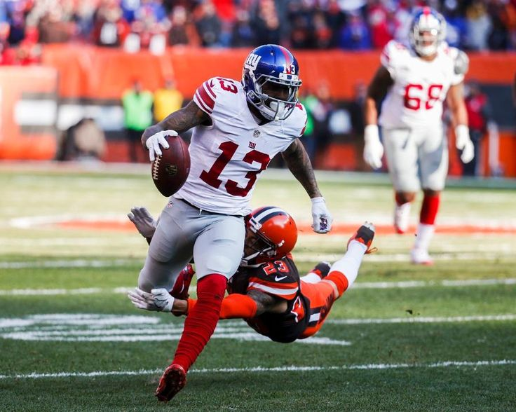Giants vs. Browns - OBJ left briefly in the first half with a thumb injury but returned to finish with 6 catches for 96 yards and 2 touchdowns. (11/27/16)