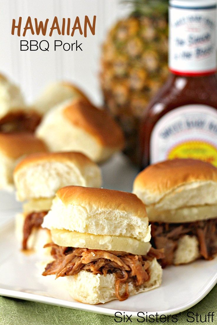 Slow Cooker Hawaiian BBQ Pork on SixSistersStuff.com - only 5 ingredients! Seriously, this is my favorite pork recipe.