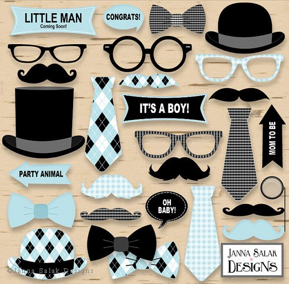 Printable Little Man Photo Booth Props Baby Shower Grey and