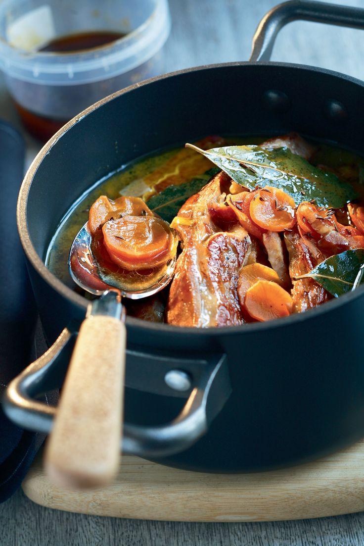 Tendrons de veau et carottes au miel, cumin et lardons