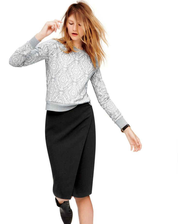 December Style Guide sneak peek. Our Very Personal Stylist team can help you pre-order the Medallion sweatshirt, wrap pencil skirt
