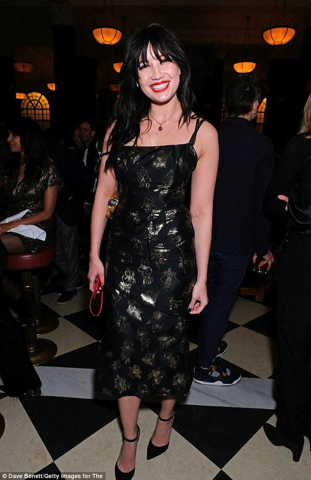 Making a statement: Daisy Lowe, 28, stepped out sporting a bold red lip as she ventured to the launch of The Ned in the City of London on Wednesday evening