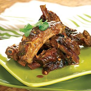 Thai-Style Ribs:  These ribs marinate all night and then slow-cook all day to get their incredible flavor.