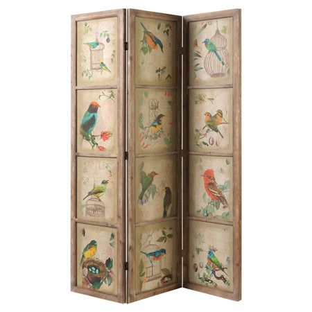 Add an artful touch to your living room or master suite with this rustic-chic room divider, crafted of pine wood and showcasing a botanical-inspired bird mot...