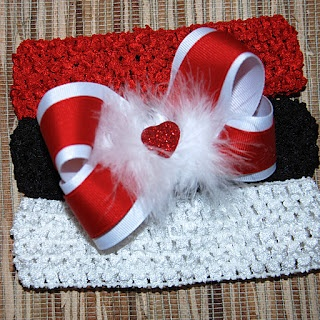 Red and whitemMarabou Valentine Hair Bow
